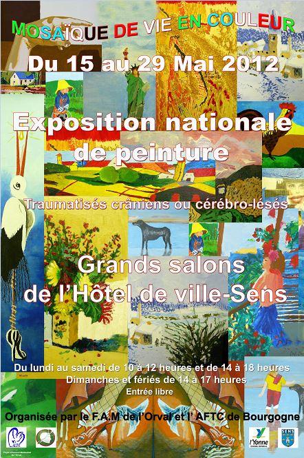 Affiche exposition nationale de peinture.2012 Traumatisés craniens ou cérébro-lésés Grands salons de l'Hotel de ville-Sens